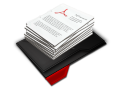 Pile of papers with Adobe logo